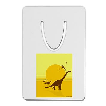 Brontosaurus and Pterodactyl Silhouettes with Sun Aluminum Paper Clip Bookmark by TooLoud
