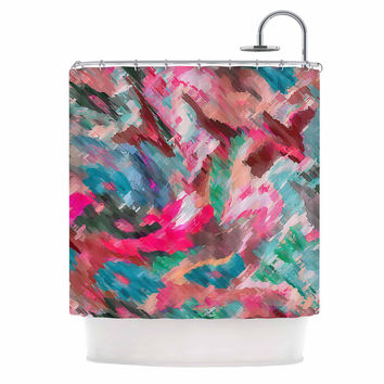 "Alison Coxon ""Giverny Pink"" Teal Peach Shower Curtain"