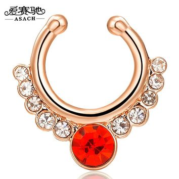 Alloy Fake Piercing Hiphop Crystal Faux Nose Ring