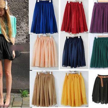 Brand New Chic Gorgeous High Waisted Elastic Double Chiffon Pleated Layered Skirt