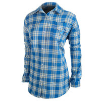 Klew Detroit Lions Women's Blue Wordmark Flannel Long Sleeve Shirt