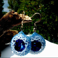 Sapphire Blue Hand Beaded Glass Women's Earrings | Hand Beaded Blue Glass Earrings Sterling Ear Hooks | Lady Green Eyes Jewelry