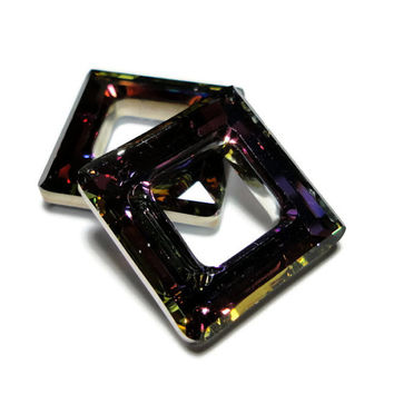 Swarovski Crystal Volcano Square Rings 20mm Quantity of 2 Jewelry Design Supplies Beads Pendants Destash