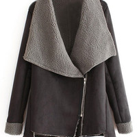 ROMWE | ROMWE Oblique Zippered Asymmetric Grey Cool Coat, The Latest Street Fashion