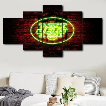 5 pieces sport logo canvas wall art New York Jets poster decoration print canvas living room picture Canvas Painting Calligraph