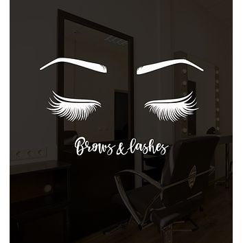 Vinyl Wall Decal Brows And Lashes Eyelashes Beauty Salon Stickers (3184ig)