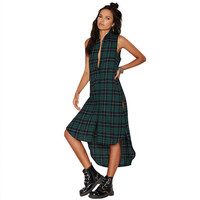 Green Plaid Sleeveless Button Down High-Low Slit Shirt Dress