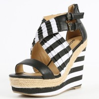 Soda Wilbur Two Tone Striped Platform Wedges | MakeMeChic.com