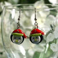 Penguin Christmas Glass Bead Earrings