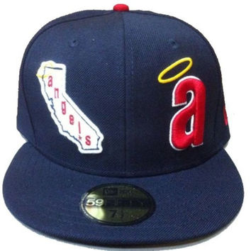 Anaheim Angels New Era 5950 Fitted 7 1/2 Hat / Cap Throwback Halo Logo - California Angels