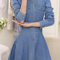 Long Sleeve Shirt Collar Skater Denim Dress