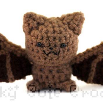 Little Brown Bat Amigurumi Crocheted Plush Toy by GeekyCuteCrochet