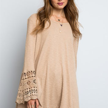 Saved By The Bell Sleeve Boho Waffle Knit in Camel