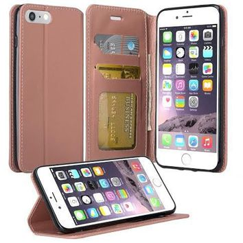 Apple iPhone 8 Plus Case, Pu Leather Magnetic Flip Fold[Kickstand] Wallet Case with ID & Card Slots for iPhone 8 Plus - Rose Gold