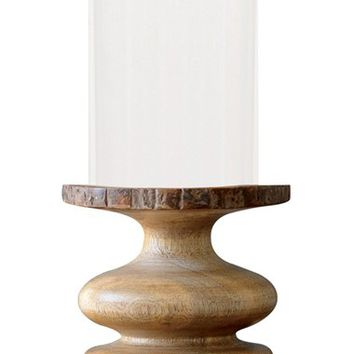 Creative Co-Op Wood & Glass Hurricane Candle Holder | Nordstrom