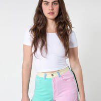 rsacs303cb - Color Block Stretch Bull Denim High-Waist Cuff Short