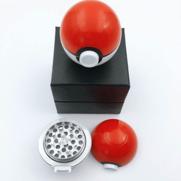 50mm Grinder Newest Game Pokemon and Pokeball Pikachu Tobacco Weed Herb Grinder With Gift Boxs