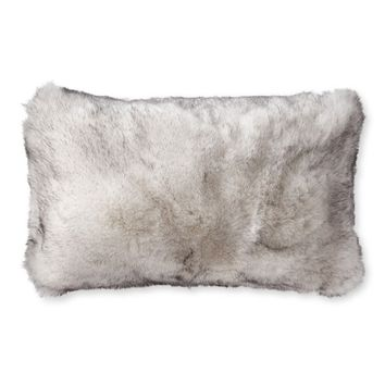 Faux Fur Lumbar Pillow Cover, Siberian Wolf
