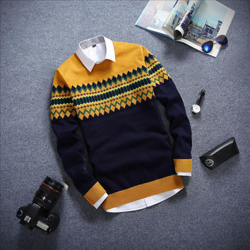 Long Sleeved Sweater Yellow and Navy