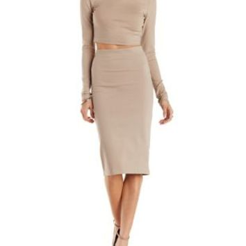 Nude Long Sleeve Crop Top & Midi Skirt Hook-Up by Charlotte Russe