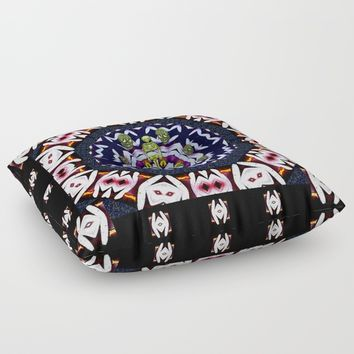 Japan flowers  style and sugar skulls Floor Pillow by Pepita Selles