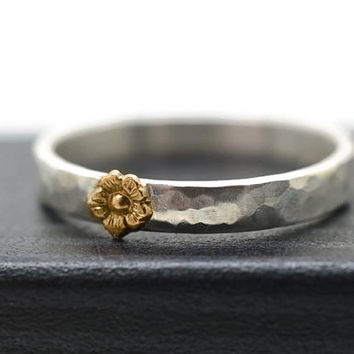 Tiny Gold Flower Ring, Engravable Silver Ring, 14k Gold Flower, Custom Engraving, Personalized Ring, Silver and Gold Ring