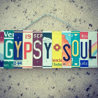 Gypsy Soul License Plate Art - Birthday for her - Wanderlust - Free Spirit - Bohemian - Handmade - Art.