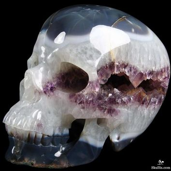 "Titan Amethyst Geode 11.6"" Agate Carved Crystal Skull, Super Realistic, the Largest Geode Skull Up to Now"