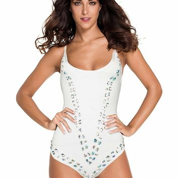 Beaded Scoop Neck Bandage Swimsuit