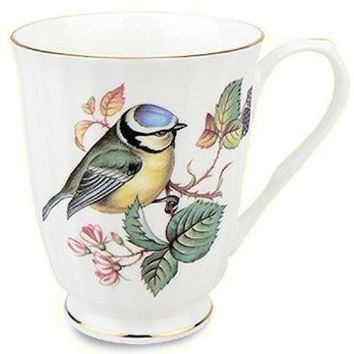 Set of 4 Blue Bird 12 oz. Mugs Fine Bone China with Gold Trim