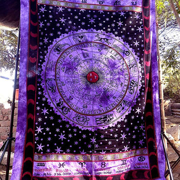 SMALL Astrology Hippie Zodiac Tapestry Wall Hanging Bedspread bedding throw bohemian boho ethnic home decor