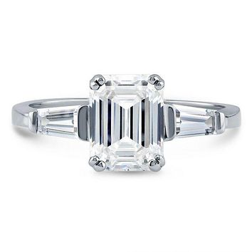 A Perfect 2.2CT Emerald Cut Russian Lab Diamond Engagement Wedding Anniversary Ring