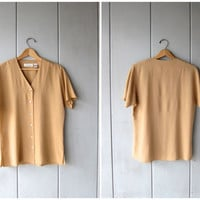 Seamless Silk Blouse Caramel Beige Top Cap Sleeve Minimal Tee Modern Silk Naked Nude Blouse Button Up Simple Silk Tee DES Womens Small