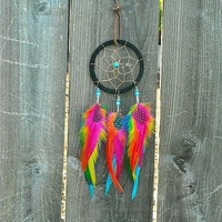 Colorful Rainbow Feather Dream Catcher By InkandRoses13