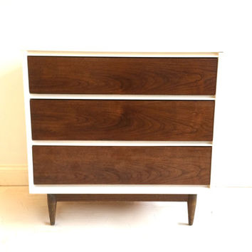 Petite Mid Century Dresser In White and Wood