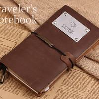 Vintage Leather Note Cover - Custom State Map With Coordinates Journal Notebook - GPS Travellers Notebook