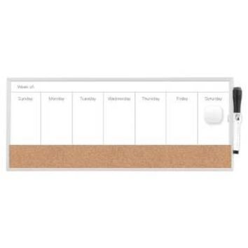 "Ubrands® Magnetic Dry Erase Weekly Planner 7.5""x18"" White"