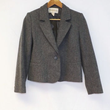 Vintage 80s 90s Gray John Meyer Petite Size 6 Wool Blazer Cropped Travel Jacket Suit Coat Small Indie Boho Preppy Equestrian 1940s 50s Style
