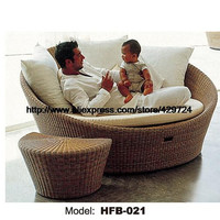 Creative Rattan Sofa Bed Leisure Lying Lounge Chair Garden Beach Swimming Pool Chair bed Rattan Sofa Furniture HFB021