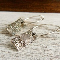 Embossed Fine Silver Earrings Metal Clay Dangles- Hoop Earrings