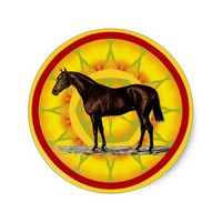 Brown Horse Classic Round Sticker