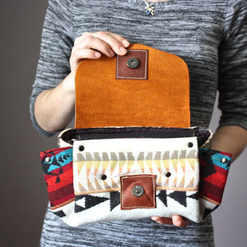 Handmade leather clutch, Navajo wool and leather purse