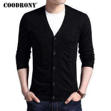 COODRONY Cardigan Cashmere Wool Sweater