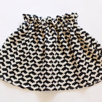 Black and White Houndstooth Baby Toddler Girl Skirt