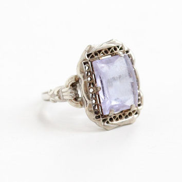 Vintage Sterling Silver Art Deco Simulated Amethyst Filigree Ring - Antique Size 6 Light Purple Lavender Glass Stone 1920s Jewelry