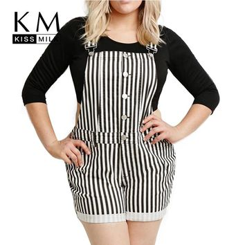 Kissmilk 2018 Women Plus Size Single Button Casual Striped  3XL 4XL 5XL 6XL Big Large Size Suspender Hot Shorts