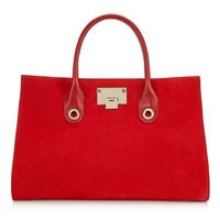 Red Suede Tote Bag | Riley | Autumn Winter 15 | JIMMY CHOO Bags