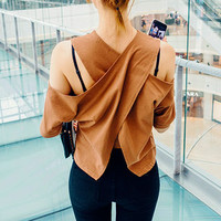 Cutout-Shoulder Cross-Back Top