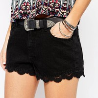 Vero Moda Lace Detail Denim Short
