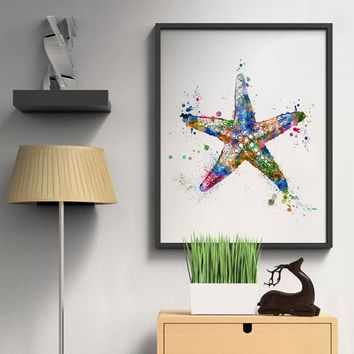 Starfish Wall Hanging Art Print Starfish Kids Room Watercolor Sea World Inspiration Sea Prints Starfish Home Decor Art Paper Unf